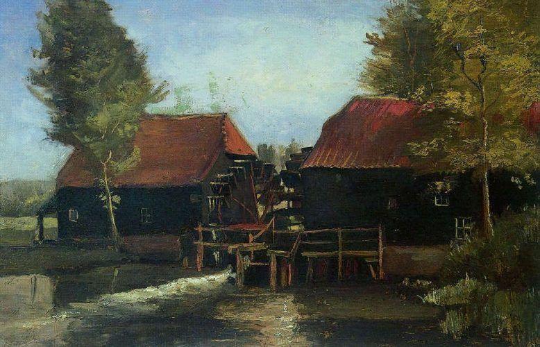 Vincent van Gogh, Wassermühle in Kollen bei Nuenen, Detail, 1884, Öl/Lw, 60,5 x 80 cm (Het Noordbrabants Museum 's-Hertogenbosch. Verworven dankzij de financiële steun van de provincie Noord-Brabant, het Mondriaan Fonds, de Vereniging Rembrandt (mede dankzij haar Alida Fonds en haar Jheronimus Fonds), alsmede dankzij een in 1999 nagelaten legaat van mevrouw Henriëtte M.J. van Oppenraaij)