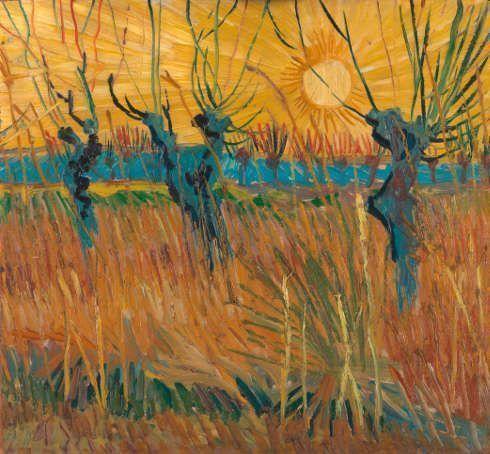 Vincent van Gogh, Weiden bei Sonnenuntergang, 1888, Öl auf Leinwand auf Karton, 31,6 cm x 34,3 cm (©Kröller-Müller Museum, Otterlo, Niederlande)