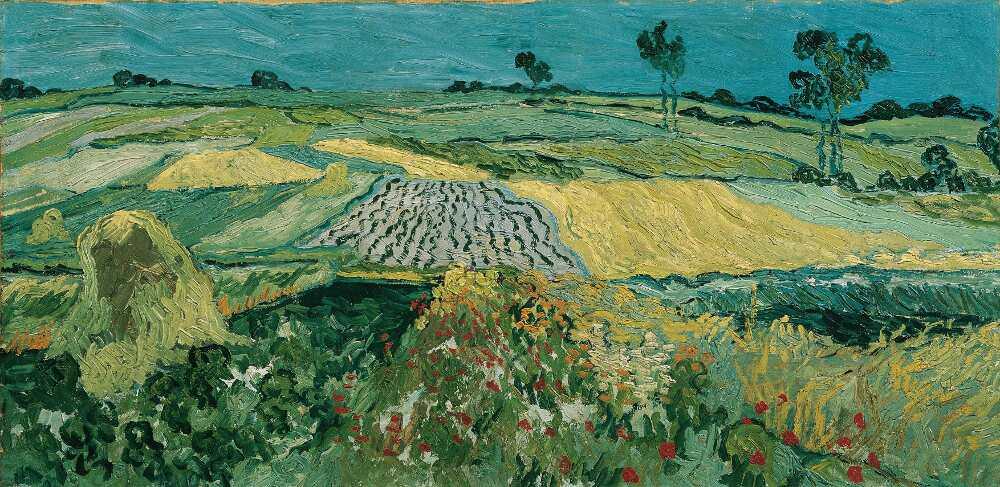 Vincent van Gogh, Weizenfelder bei Auvers-sur-Oise, 1890, Öl auf Leinwand, 50 x 101 cm (Österreichische Galerie Belvedere, Wien)