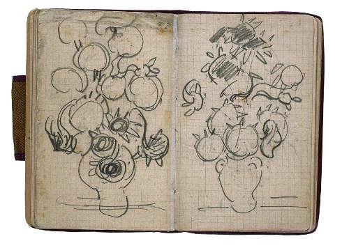 Vincent van Gogh, Zwei Skizzen von Vasen mit Sonnenblumen, in: Skizzenbuch aus Paris und Auvers-sur-Oise, 1890 (Van Gogh Museum, Amsterdam (Vincent van Gogh Foundation), Foto: Petra and Erik Hesmerg)