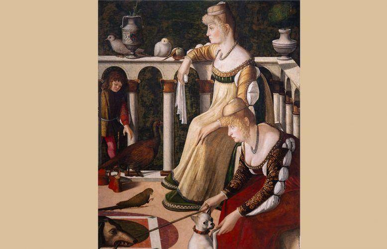 Vittore Carpaccio, Zwei Frauen auf einem Balkon, Detail, um 1492/1494, Öl/Holz (Musei Civici Veneziani, Museo Correr, Venedig)