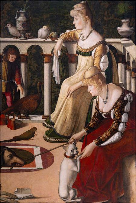 Vittore Carpaccio, Zwei Frauen auf einem Balkon, um 1492/1494, Öl/Holz (Musei Civici Veneziani, Museo Correr, Venedig)