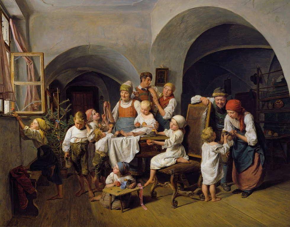 Ferdinand Georg Waldmüller, Christtagsmorgen, 1844, Öl auf Holz, 64,5 × 84,5 cm, Belvedere, Wien, Inv.-Nr. 2129)