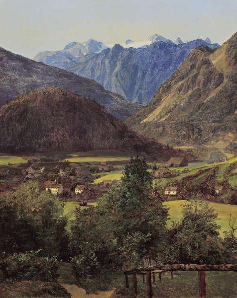 Ferdinand Georg Waldmüller, Der Dachstein vom Sophien-Doppelblick bei Ischl, 1835, Öl auf Holz, 31 × 26 cm (Belvedere, Wien, Inv.-Nr. 5712)