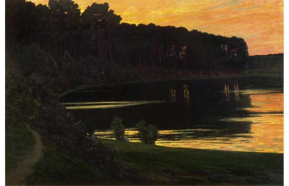 Walter Leistikow, Sonnenuntergang über dem Grunewaldsee, 1895, Öl auf Leinwand, 167 x 252 cm (Staatliche Museen zu Berlin, Berlin)