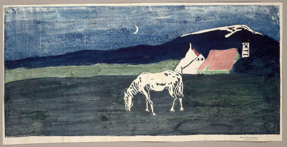 Wassily Kandinsky, Abenddämmerung, 1904, Holzschnitt, 15,7 x 31,5 cm (Centre Pompidou, Paris, Musée national d'art moderne – Centre de création industrielle © Centre Pompidou, MNAM-CCI, Dist. RMN-Grand Palais, Paris/image Centre Pompidou, MNAM-CCI)