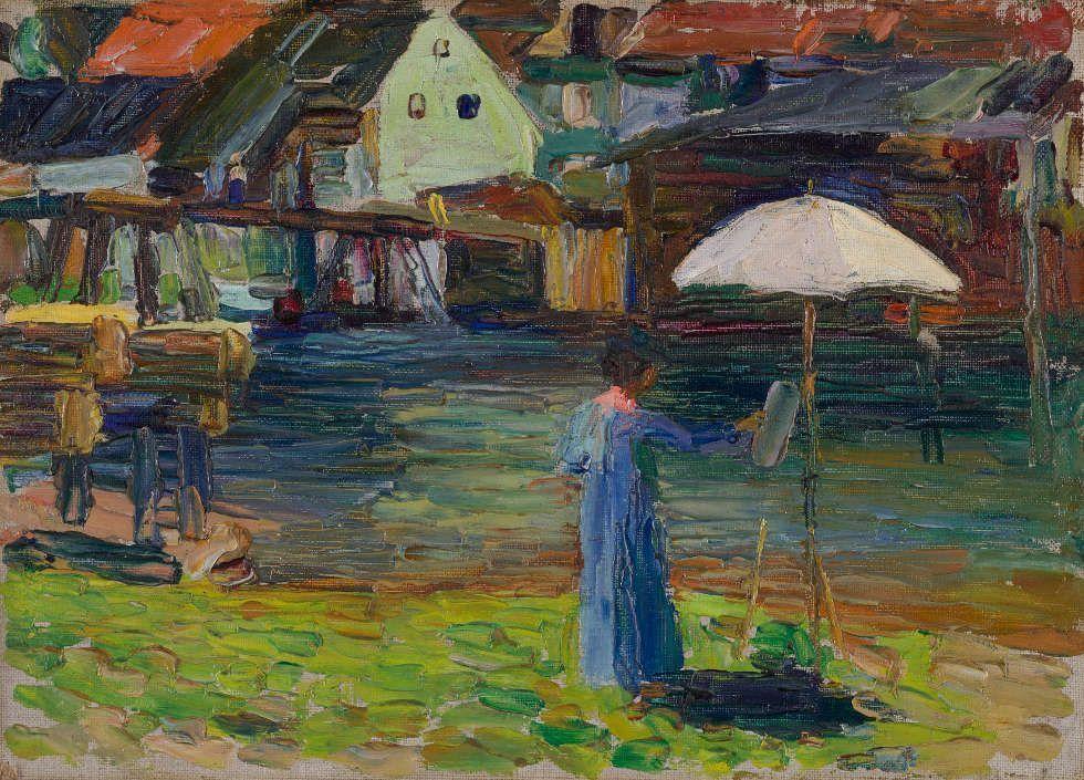 Wassily Kandinsky, Kallmünz – Gabriele Münter beim Malen I, Sommer 1903 (Städtische Galerie im Lenbachhaus und Kunstbau München)