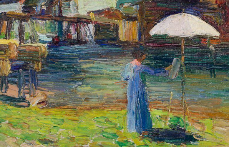 Wassily Kandinsky, Kallmünz – Gabriele Münter beim Malen I, Detail, Sommer 1903 (Städtische Galerie im Lenbachhaus und Kunstbau München)
