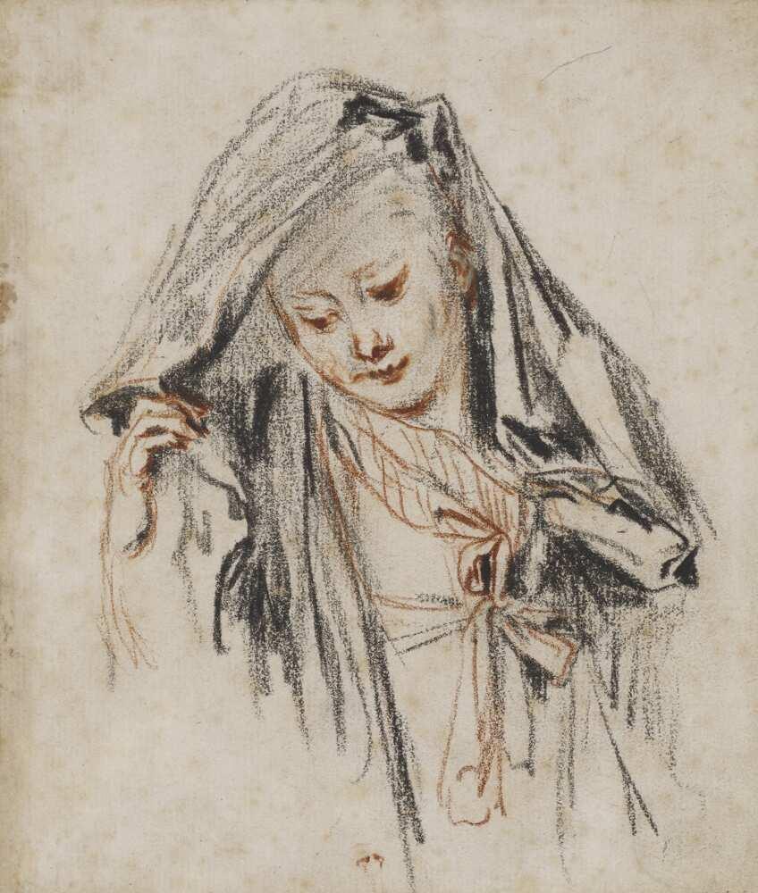 Antoine Watteau, Brustbild einer niederblickenden jungen Frau, die den Stoff ihrer Mantille anhebt, um 1717, Rötel und schwarze Kreide, 15,4 x 13,2 cm (Amsterdam Museum, legaat C.J. Fodor)