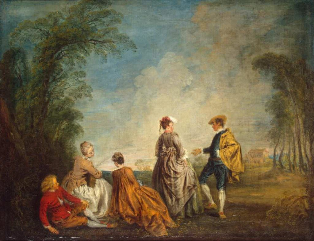 Antoine Watteau, Ein beschämender Vorschlag, um 1715/16, Öl, 65 x 84,5 cm (St. Petersburg, Staatliche Eremitage)