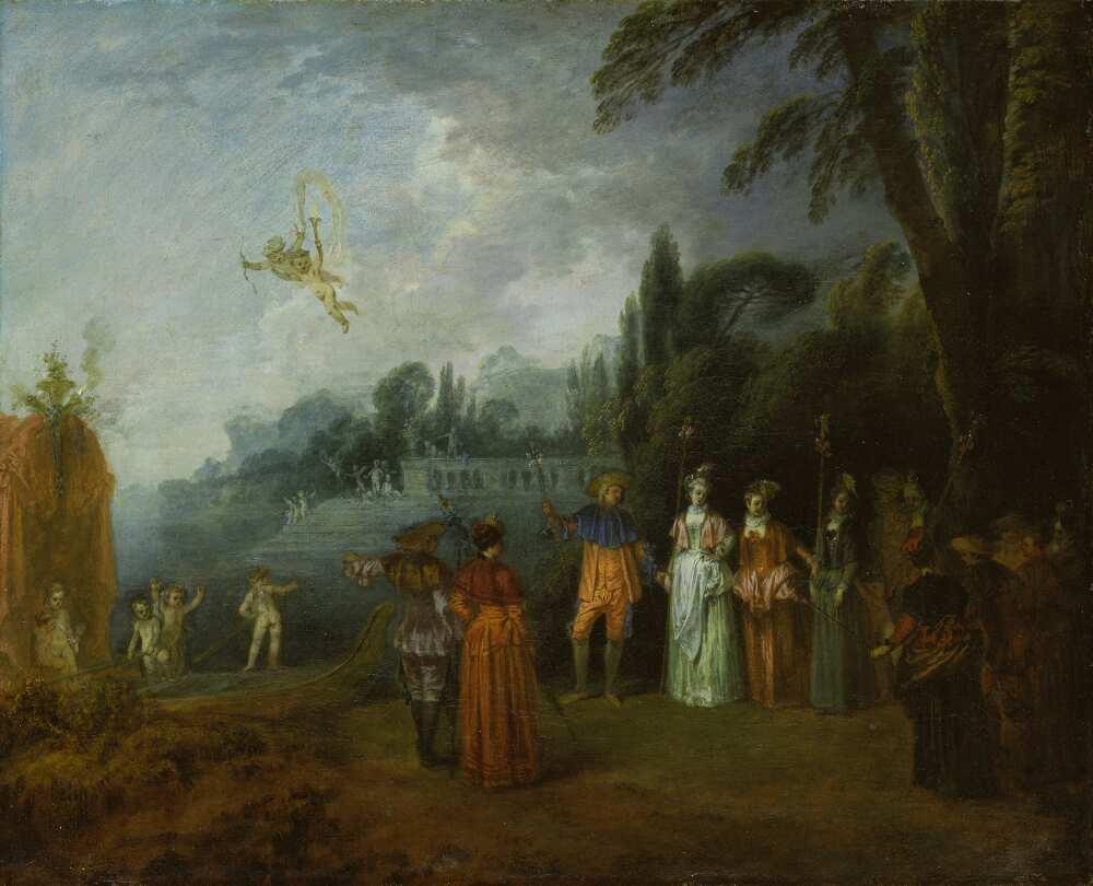 Antoine Watteau, L'Embarquement pour Cythère [Die Einschiffung nach Kythera], um 1709–1712, Öl auf Leinwand, 43,1 x 53,3 cm (Frankfurt am Main, Städel)