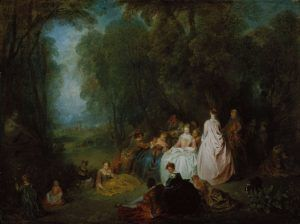 Antoine Watteau und Jean-Baptiste Pater, Fête champêtre, 1718/21, Öl auf Holz, 48.6 x 64.5 cm (The Art Institute of Chicago, Max and Leola Epstein Collection, 1954.295)