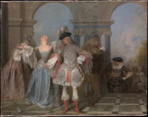 Antoine Watteau, Französische Komödianten, um 1720, Öl auf Leinwand, 57,2 x 73 cm (New York, The Metropolitan Museum of Art, The Jules Bache Collection, 1949)