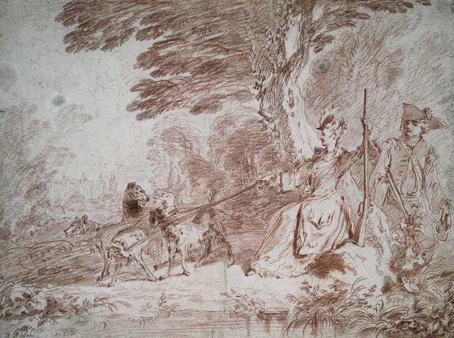 Antoine Watteau, Jagdpartie. Jäger und Jägerin mit vier Hunden in einer Landschaft, um 1713, Rötel, 40,3 x 54,1 cm (Städel Museum, Frankfurt am Main Foto: Städel Museum – U. Edelmann – ARTOTHEK)