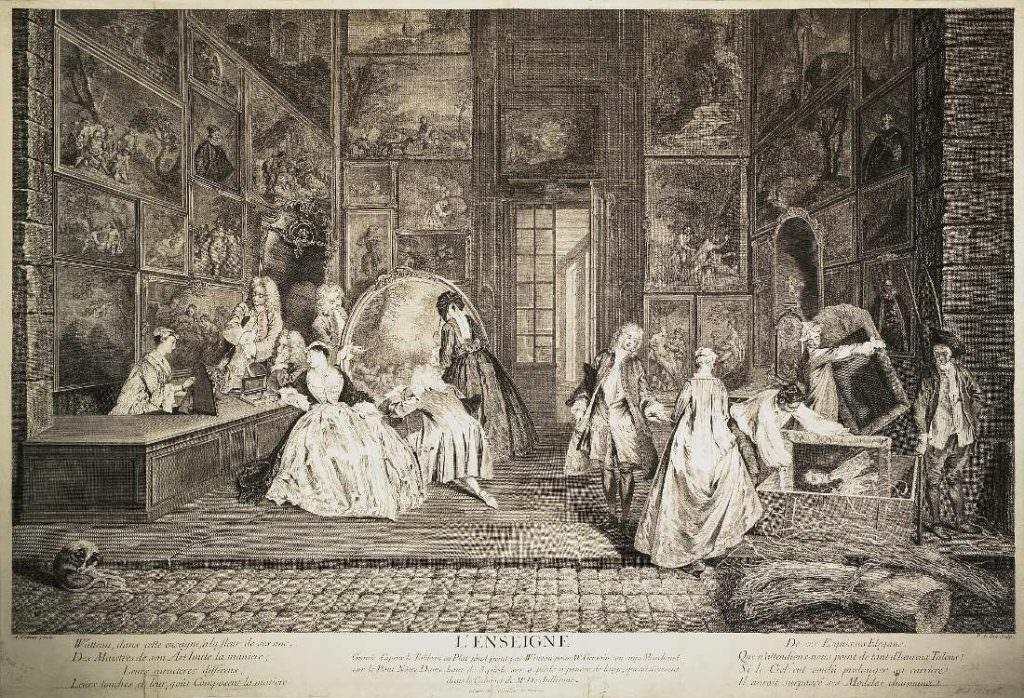 Pierre Alexandre Aveline nach Antoine Watteau, Das Ladenschild des Kunsthändlers Gersaint, um 1732, Radierung, 58,7 x 86,5 cm (St. Petersburg, Eremitage)