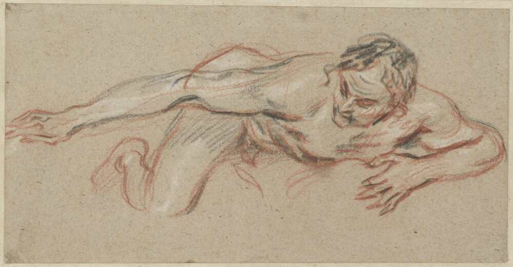 Antoine Watteau, Nackter Mann, auf dem Bauch liegend, den rechten Arm ausgestreckt, um 1717, Rötel, schwarze und weiße Kreide auf beigem Papier,10,8 x 21,2 cm (Fondation Custodia – Collection Frits Lugt, Paris)
