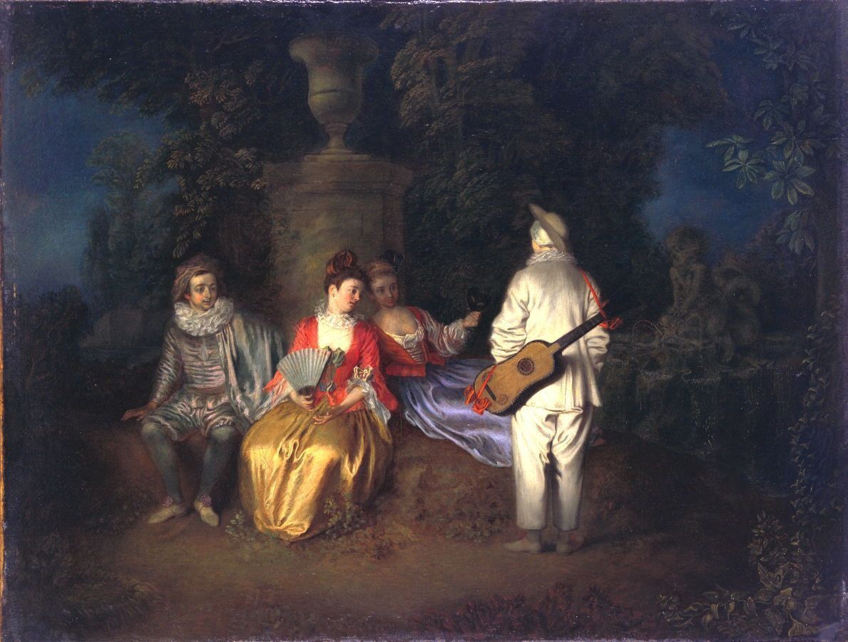 Antoine Watteau, Partie zu Viert, um 1713, Öl auf Leinwand, 49,5 x 63 cm (San Francisco, Museum of Fine Arts, Museum purchase, Mildred Anna Williams Collection)