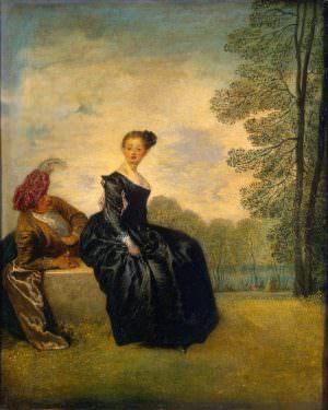 Antoine Watteau, Die Schmollende, um 1719, Öl auf Leinwand, 42 x 34 cm (St. Petersburg, Eremitage)