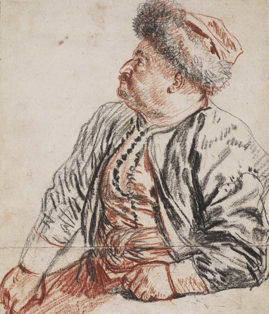 Antoine Watteau, Sitzender Perser, 1715, Rötel und schwarze Kreide, 25 x 21,2 cm (Teylers Museum, Haarlem)