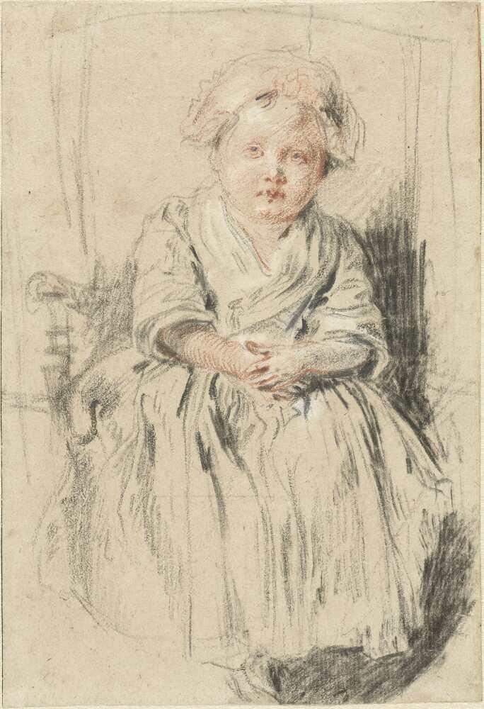Antoine Watteau, Sitzendes Kind auf einer Lehnstuhlkante, um 1715–1716 oder um 1720, Rötel, schwarze und weiße Kreide, auf cremefarbenem Papier, 17,7 x 12,2 cm (Rijksmuseum, Amsterdam Foto: Rijksmuseum, Amsterdam)