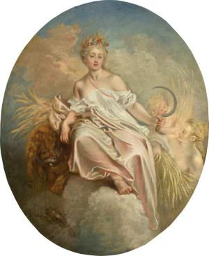 Antoine Watteau, Der Sommer (Ceres), um 1717, Öl auf Leinwand, 142 x 115,7 cm (oval) (Washington, National Gallery of Art, Samuel H. Kress Collection, 1961.9.50)
