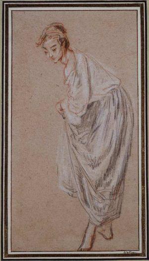 Antoine Watteau, Stehendes Mädchen, nach links geneigt und seinen Rock anhebend, um 1715–1717, Rötel, schwarze und weiße Kreide auf rötlichbeigem Papier, 26,2 x 14 cm (Städel Museum, Frankfurt am Main Foto: Städel Museum – U. Edelmann – ARTOTHEK)