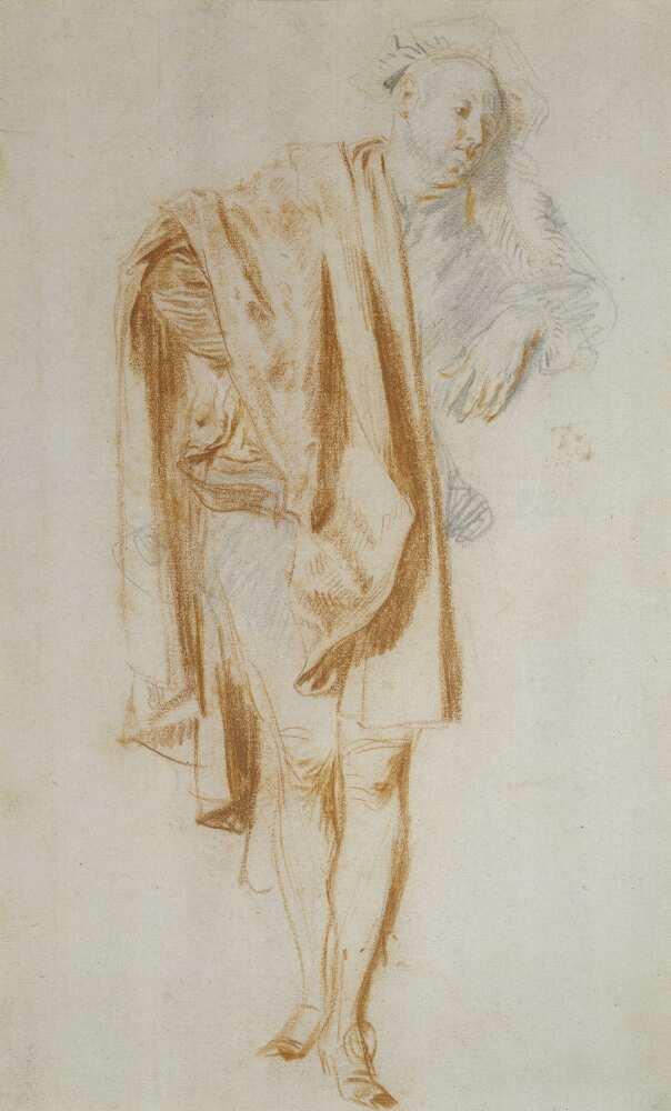 Antoine Watteau, Studie einer stehenden männlichen Figur. Bildnis des Nicolas Vleughels, um 1718/19, Graphitstift und rote Kreide auf Papier, 29,4 x 18,4 cm (Städel Museum, Frankfurt am Main Foto: Städel Museum - U. Edelmann – ARTOTHEK)