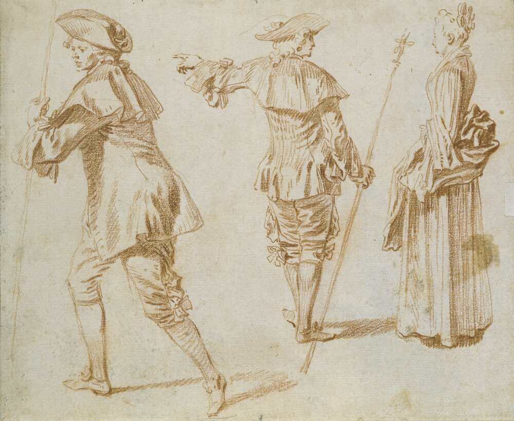 Antoine Watteau, Zwei Pilger und eine stehende Frau, um 1709–1712, Rötel, 16,5 x 20 cm (Städel Museum, Frankfurt am Main Foto: Städel Museum – U. Edelmann – ARTOTHEK)