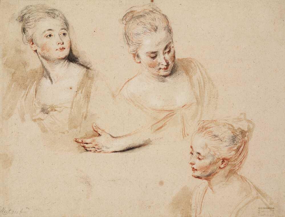 Antoine Watteau, Studienblatt mit drei Frauenköpfen und einer linken Hand, um 1718, Rötel, schwarze und weiße Kreide, Pinsel in grauer, brauner und roter Aquarellfarbe, 26,5 x 34,6 cm (Teylers Museum, Haarlem)