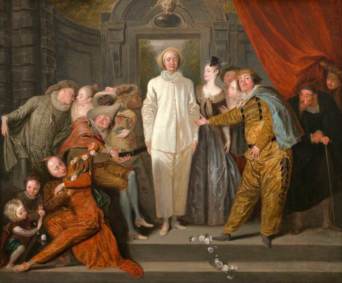 Antoine Watteau, Italienische Komödianten, um 1720, Öl auf Leinwand, 63,8 x 76,2 cm (Washington, National Gallery, Samuel H. Kress Collection, 1946.7.9)