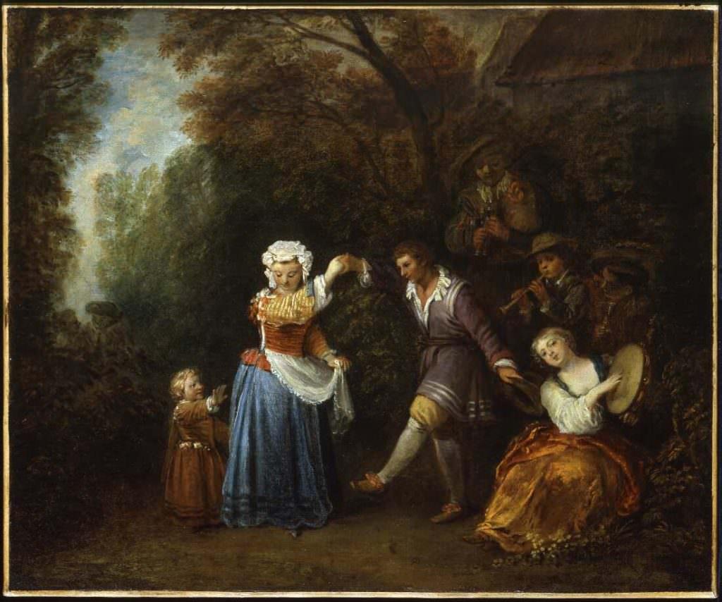 Antoine Watteau, Ländlicher Tanz, um 1706–1710, Öl auf Leinwand, 50 x 60 cm (Museum of Art, Indianapolis)