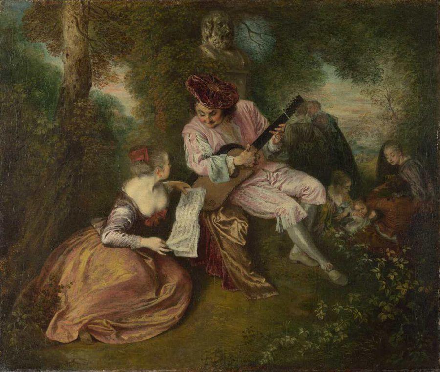 Antoine Watteau, Das Liebeslied, um 1717, Öl auf Leinwand, 51,3 x 59,4 cm (London, The National Gallery of Art)