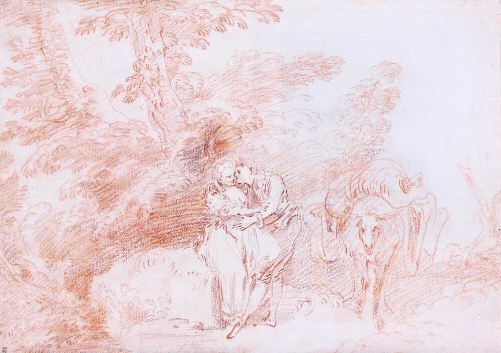 Antoine Watteau, Ein Liebespaar im Wald, daneben ein beladener Esel; Le Meunier galant (Der galante Müller), um 1712–1714 (zum Teil früher?), Rötel, 21,8 x 30 cm (Institut de France, Musée Jacquemart-André, Paris © Studio Sébert Photographes)