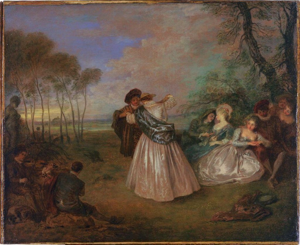Antoine Watteau, Quadrille, 1716–1719, Öl auf Leinwand, 44.5 x 54.6 cm (San Francisco, Museum of Fine Arts, Gift of Mrs. Clarence Sterling Postley)