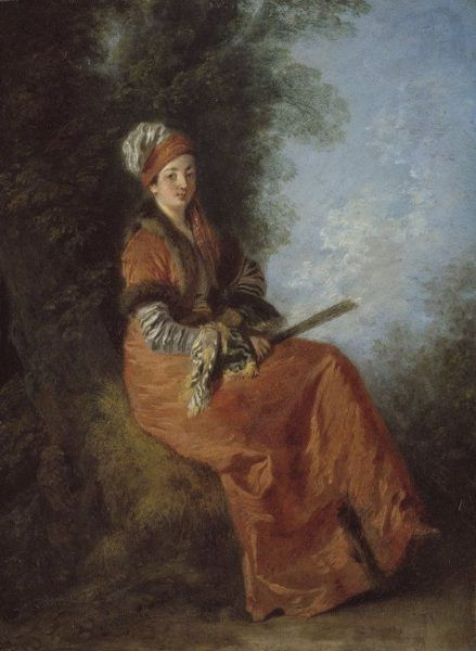 Antoine Watteau, Die Träumerin, um 1714, Öl auf Holz, 23,2 x 17 cm (Chicago, The Art Institute of Chicago, Mr. and Mrs. Lewis Larned Coburn Memorial Collection, 1960.305)