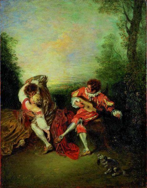 Antoine Watteau, La Surprise [Die Überraschung. Ein sich umarmendes Paar und ein Gitarre spielender Mezzetin], 1718/19, Öl auf Holz, 36.3 x 28.2 cm (Privatsammlung)