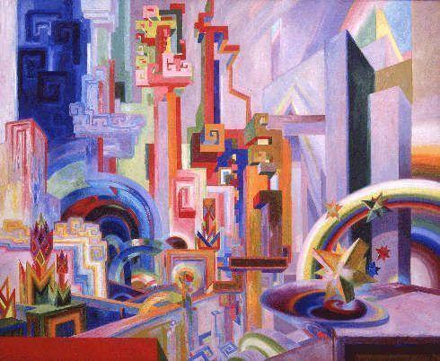 Wenzel Hablik, Große bunte utopische Bauten, 1922, Öl/Lw, 153,3 × 190 cm (Wenzel-Hablik-Museum, Itzehoe © Foto: Wenzel-Hablik-Stiftung, Itzehoe)