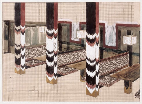 Wenzel Hablik, ohne Titel (Zentral-Hotel, Sitzreihe mit Pfeilern), 1922, Bleistift, Aquarell, Tempera auf Millimeterpapier, Karton, 32,5 × 44,9 cm (Wenzel-Hablik-Museum, Itzehoe © Foto: Wenzel-Hablik-Stiftung, Itzehoe)