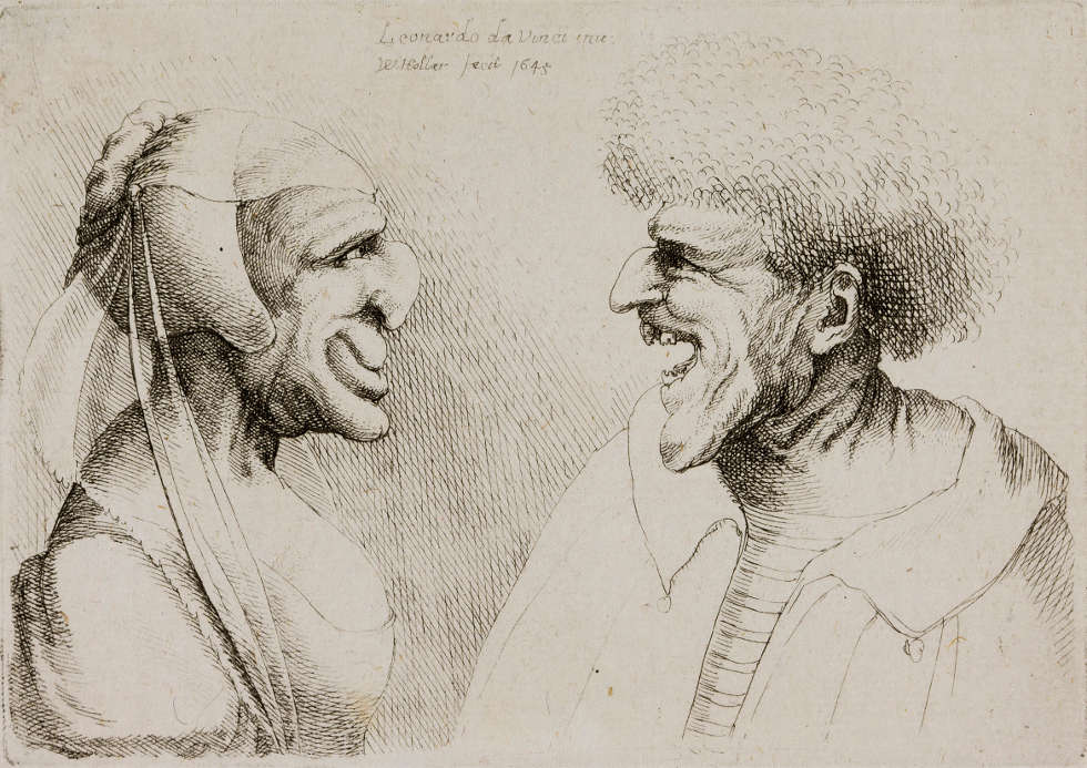 """Wenzel Hollar, Ein deformiertes Paar sieht sich an, 1645, Beschriftung oben Mitte: """"Leonardo da Vinci inv / W Hollar fecit 1645"""", Kupferstich (Teylers Museum, Haarlem)"""