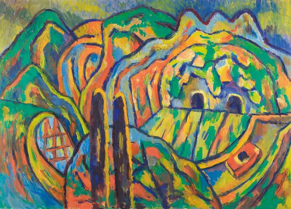 Alfred Wickenburg, Apennin, 1970, Öl auf Leinwand, 100 x 140 cm (© Belvedere, Wien/Leihgabe aus Privatbesitz, New York/ © Henriette Gorton-Wickenburg 2016)