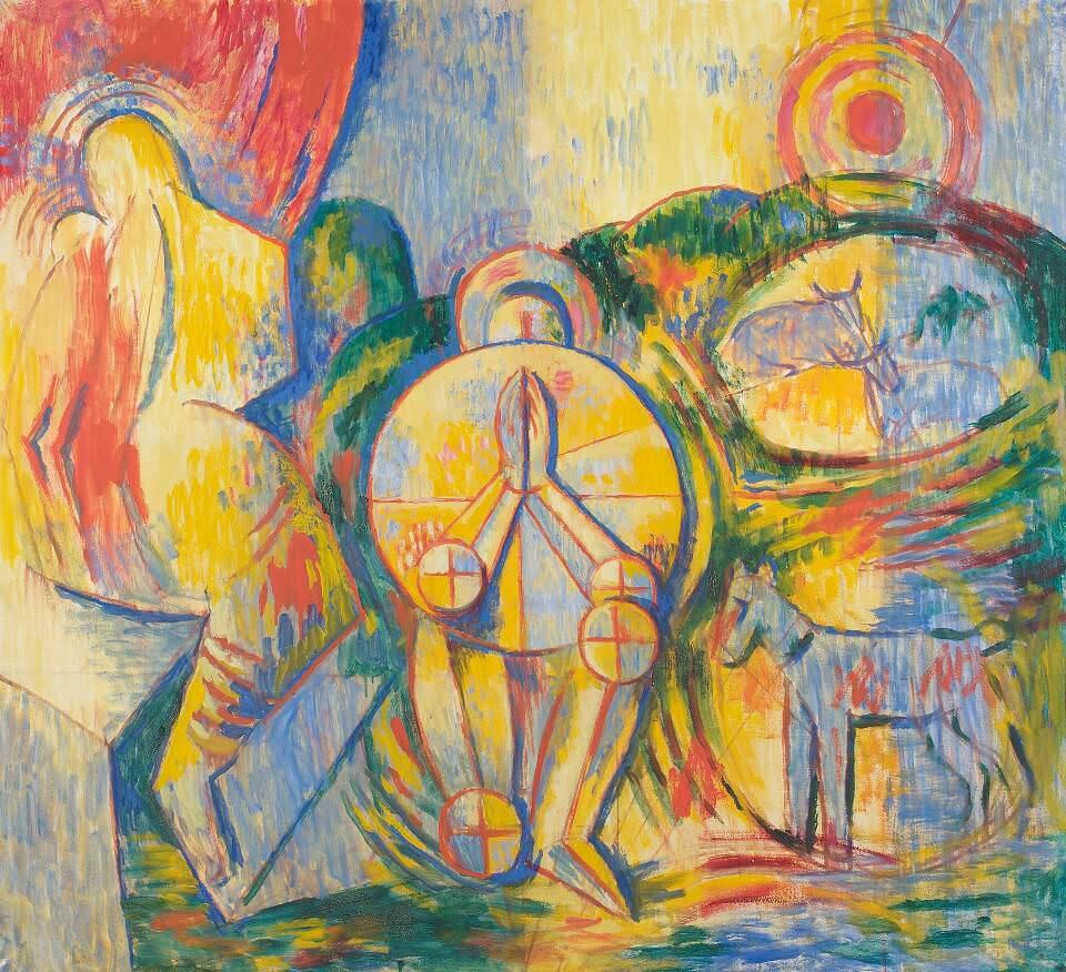Alfred Wickenburg, Betender Ritter, 1957, Öl auf Leinwand, 121 x 133 cm (© Belvedere, Wien/Leihgabe aus Privatbesitz, New York/ © Henriette Gorton-Wickenburg 2016)