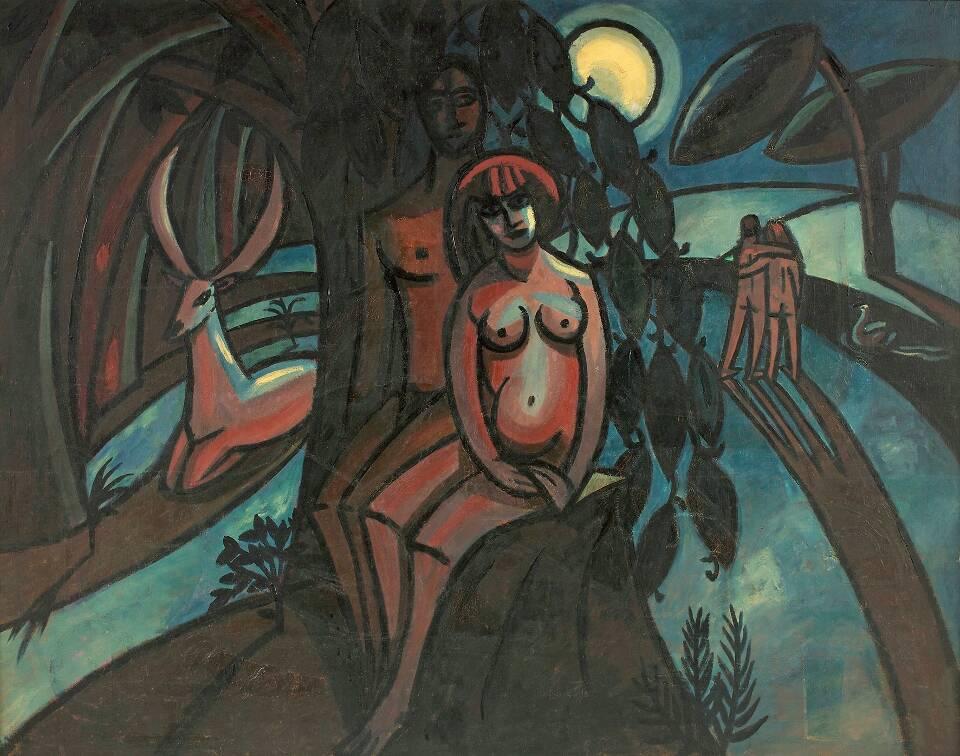 Alfred Wickenburg, Das Paradies, 1919, Öl auf Leinwand, 146,5 x 190 cm (© Belvedere, Wien/Leihgabe aus Privatbesitz, New York/ © Henriette Gorton-Wickenburg 2016)