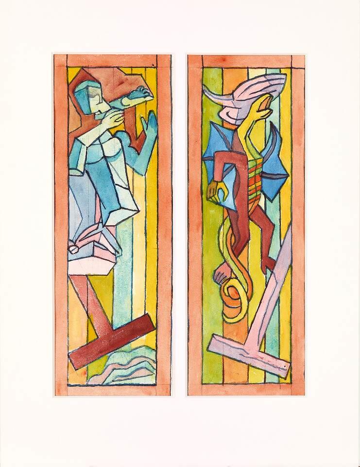 Alfred Wickenburg, Zwei Glasfensterentwürfe für die St. Josefskirche in Greith: Apostelsymbol, um 1962, Aquarell über Bleistift auf Papier, 57,2 x 41 cm (© Belvedere, Wien/Leihgabe aus Privatbesitz, New York/ © Henriette Gorton-Wickenburg 2016)
