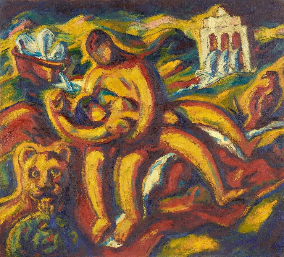 Alfred Wickenburg, Römisches Liebespaar, 1921, Öl auf Leinwand, 178 x 195,5 cm (© Belvedere, Wien/Leihgabe aus Privatbesitz, New York/ © Henriette Gorton-Wickenburg 2016)
