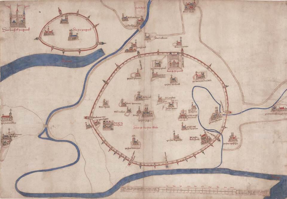 Albertinischer Plan von Wien, 2. Hälfte 15. Jahrhundert © Wien Museum