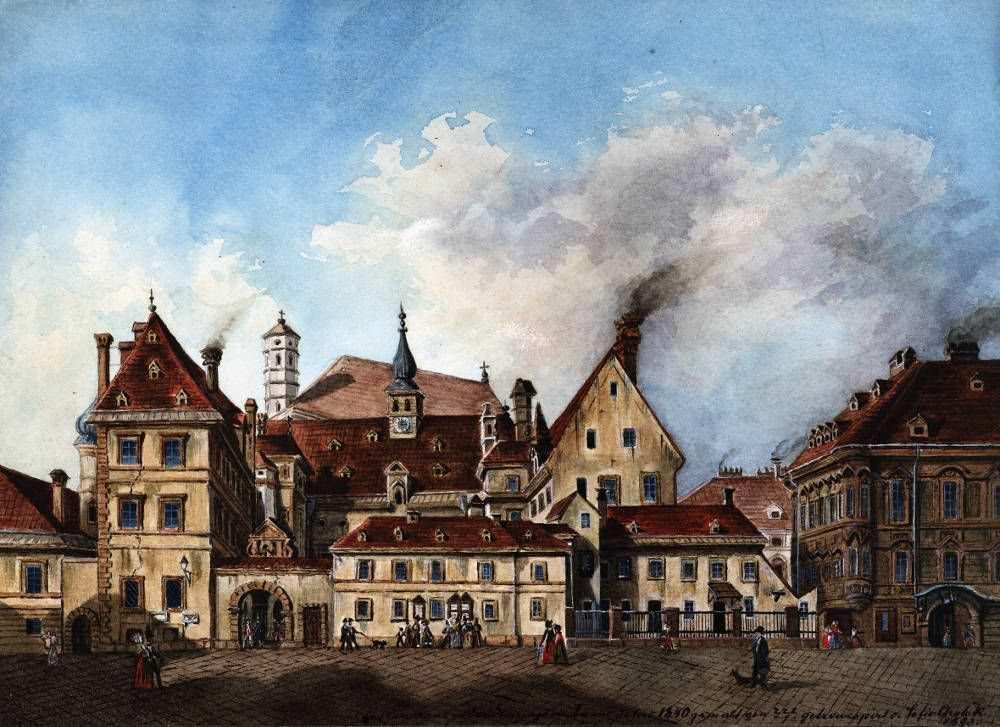 Wien, Altes Landhaus in der Herrengasse, ein wichtiges Zentrum der Protestanten (historische Darstellung aus dem 19. Jahrhundert) © Wien Museum