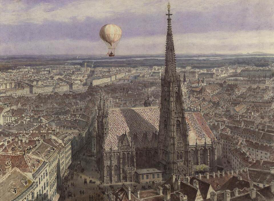 Jakob Alt, Ballonfahrt über Wien, 1847 © Wien Museum