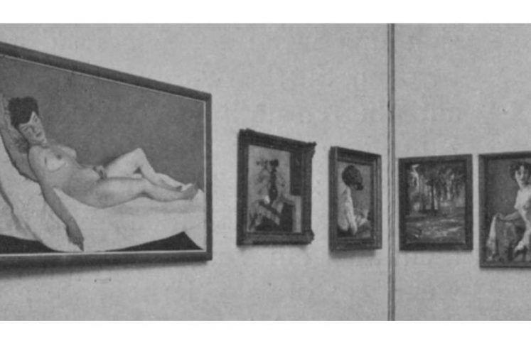 Wien, Internationale Kunstschau 1909, Einblick mit Liegender Akt
