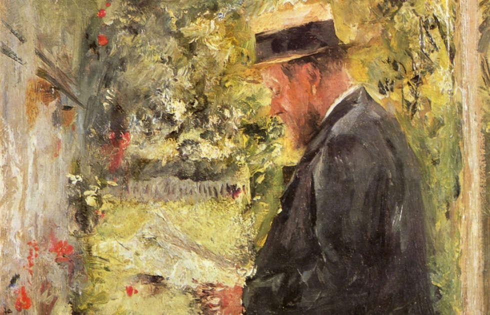 Wilhelm Leibl, Dr. Reindl in der Laube, Detail, um 1890, Öl/Lw, 26 x 19,5 cm (Städtische Galerie im Lenbachhaus, München)