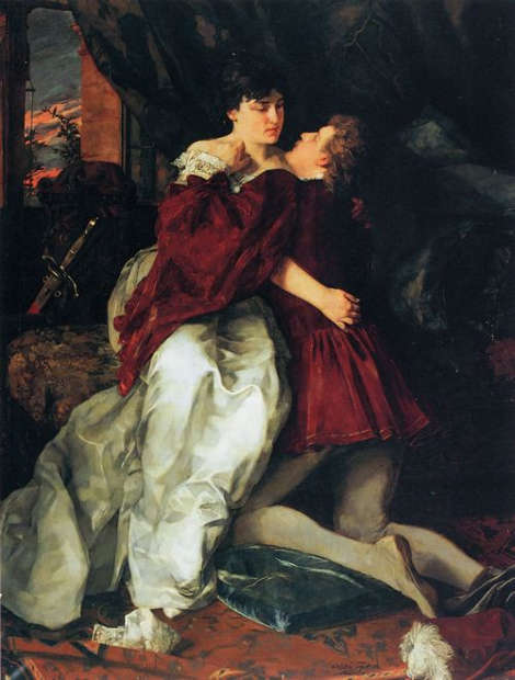 Wilhelm Trübner, Adelheid und Franz, 1879, Öl-Lw, 173 x 130 cm (Städtische Museen, Heilbronn)